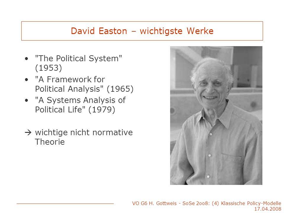 VO G6 H. Gottweis - SoSe 2oo8: (4) Klassische Policy-Modelle 17.04.2008 David Easton – wichtigste Werke