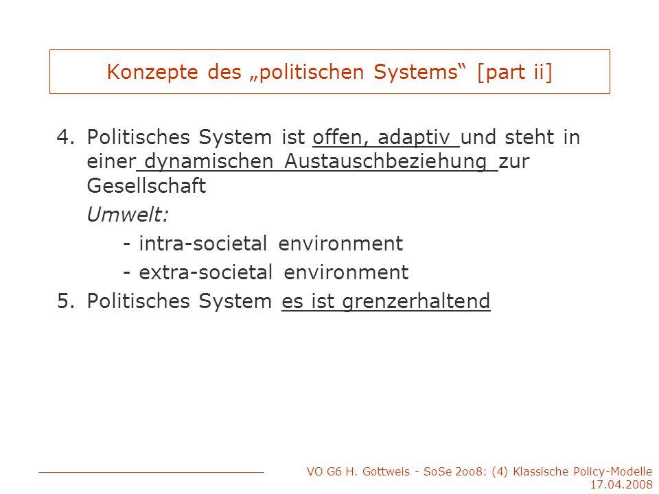 """VO G6 H. Gottweis - SoSe 2oo8: (4) Klassische Policy-Modelle 17.04.2008 Konzepte des """"politischen Systems"""" [part ii] 4.Politisches System ist offen, a"""