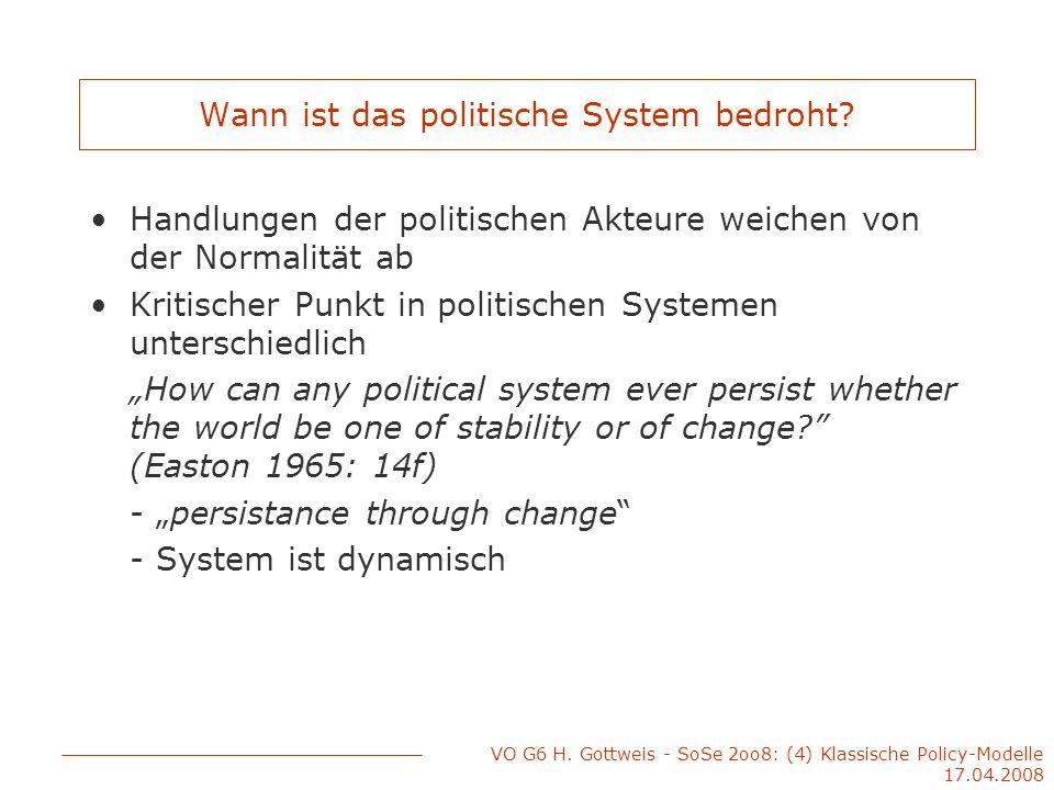 VO G6 H. Gottweis - SoSe 2oo8: (4) Klassische Policy-Modelle 17.04.2008 Wann ist das politische System bedroht? Handlungen der politischen Akteure wei