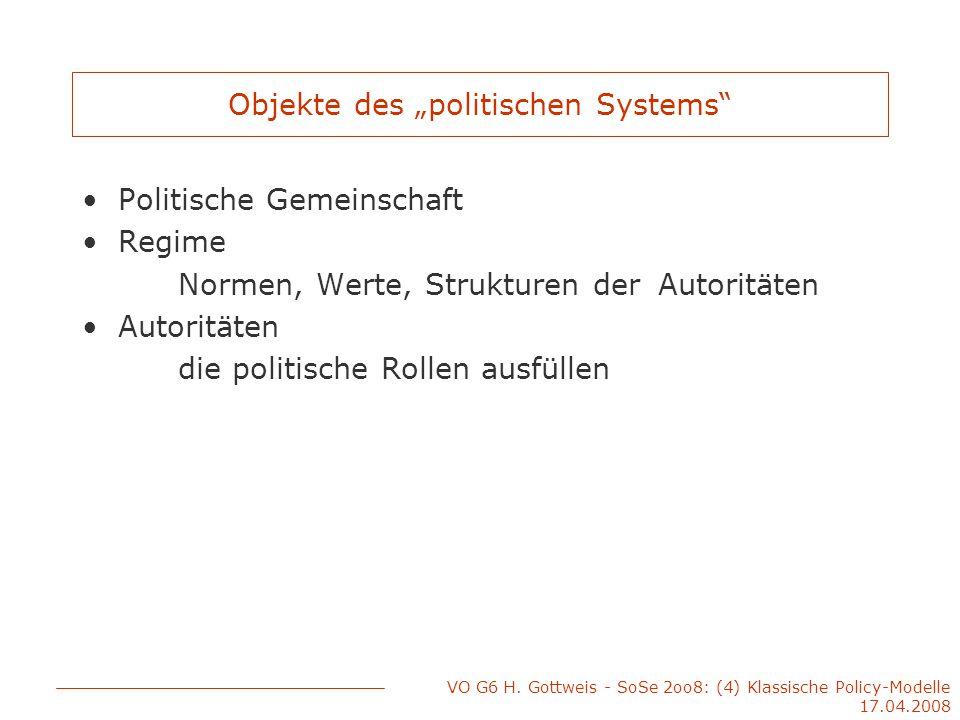 """VO G6 H. Gottweis - SoSe 2oo8: (4) Klassische Policy-Modelle 17.04.2008 Objekte des """"politischen Systems"""" Politische Gemeinschaft Regime Normen, Werte"""