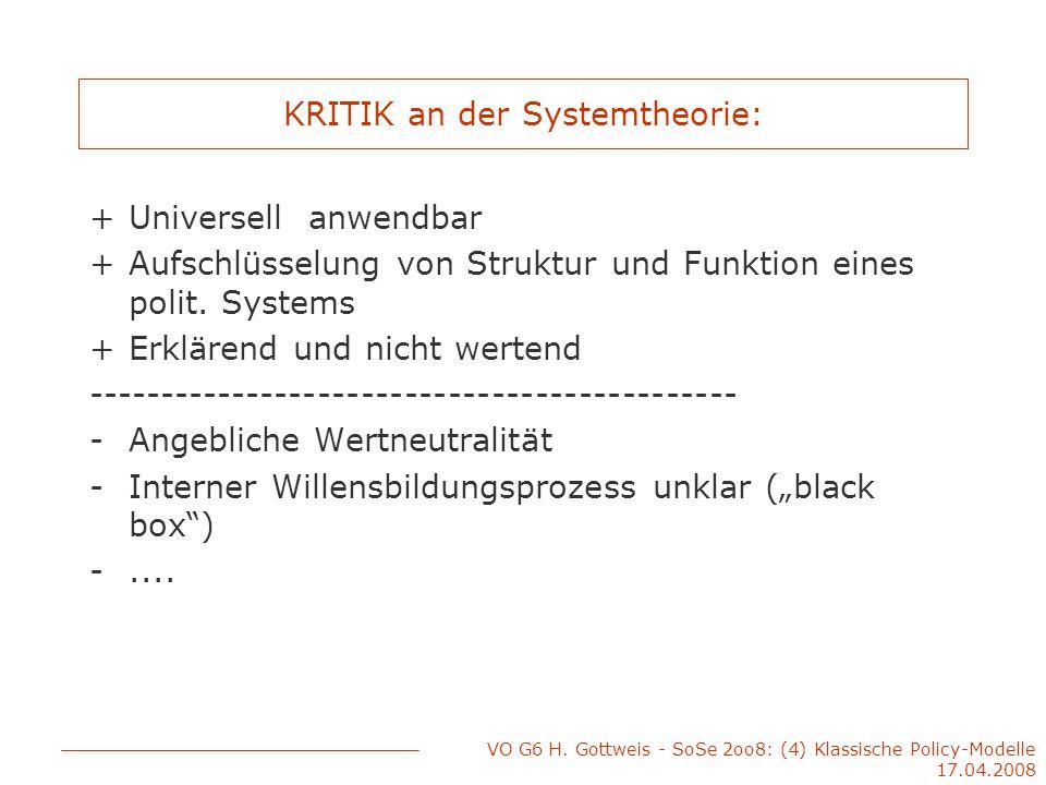 VO G6 H. Gottweis - SoSe 2oo8: (4) Klassische Policy-Modelle 17.04.2008 KRITIK an der Systemtheorie: +Universell anwendbar +Aufschlüsselung von Strukt