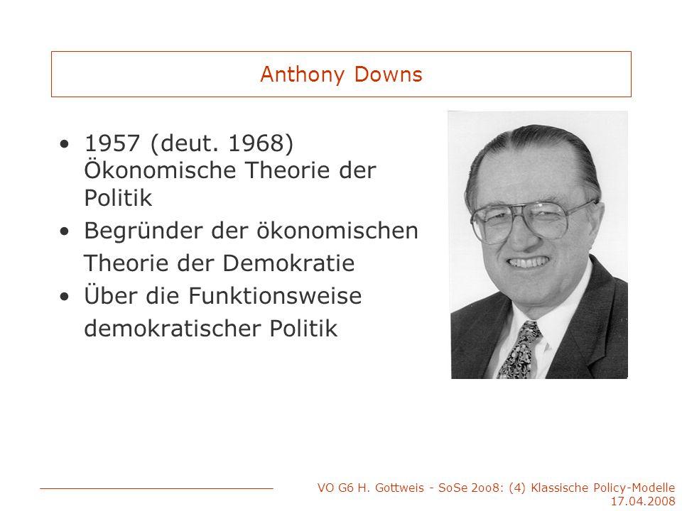 VO G6 H. Gottweis - SoSe 2oo8: (4) Klassische Policy-Modelle 17.04.2008 Anthony Downs 1957 (deut. 1968) Ökonomische Theorie der Politik Begründer der