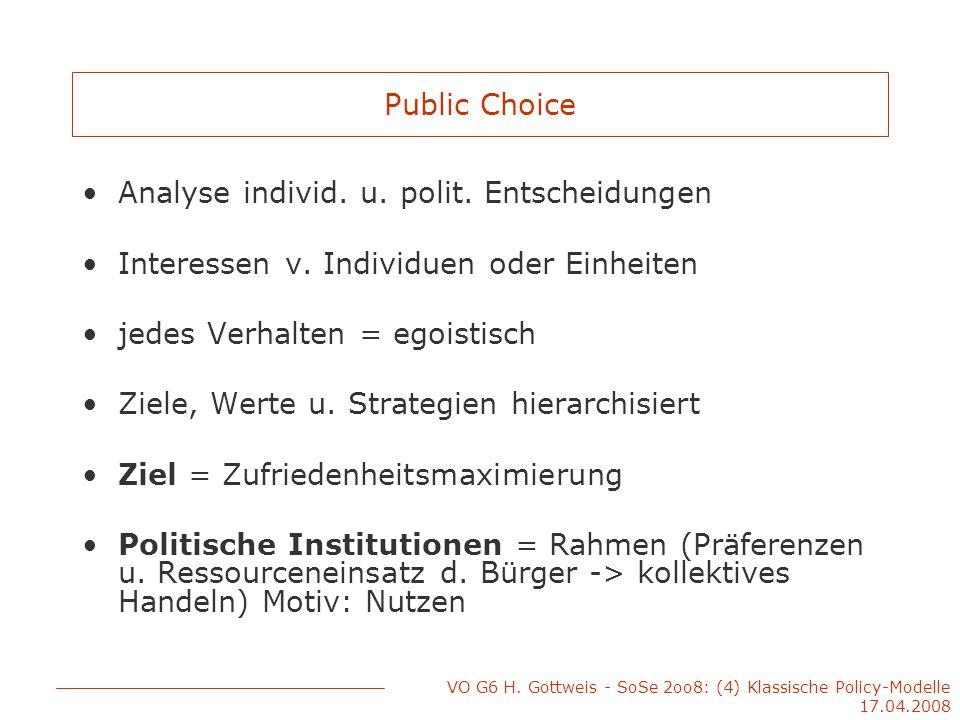 VO G6 H. Gottweis - SoSe 2oo8: (4) Klassische Policy-Modelle 17.04.2008 Public Choice Analyse individ. u. polit. Entscheidungen Interessen v. Individu