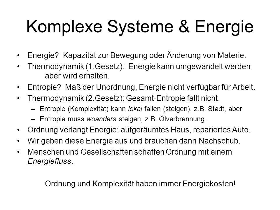 Komplexe Systeme & Energie Energie. Kapazität zur Bewegung oder Änderung von Materie.