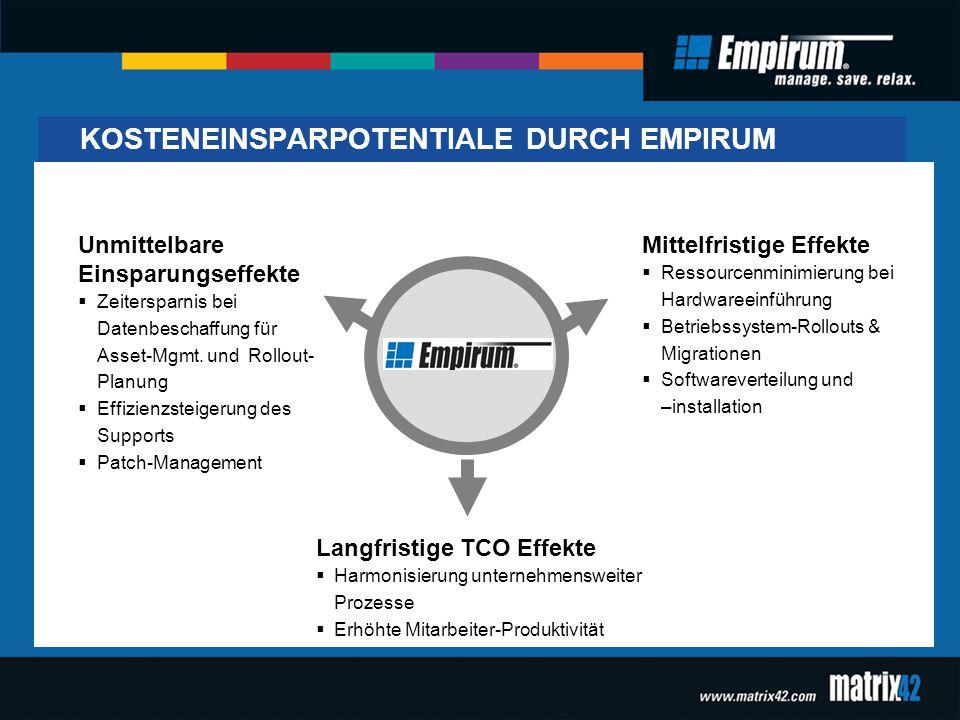 KOSTENEINSPARPOTENTIALE DURCH EMPIRUM Unmittelbare Einsparungseffekte  Zeitersparnis bei Datenbeschaffung für Asset-Mgmt. und Rollout- Planung  Effi