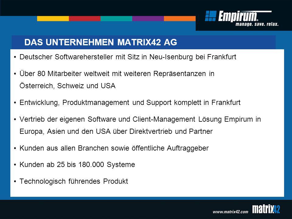DAS UNTERNEHMEN MATRIX42 AG Deutscher Softwarehersteller mit Sitz in Neu-Isenburg bei Frankfurt Über 80 Mitarbeiter weltweit mit weiteren Repräsentanz