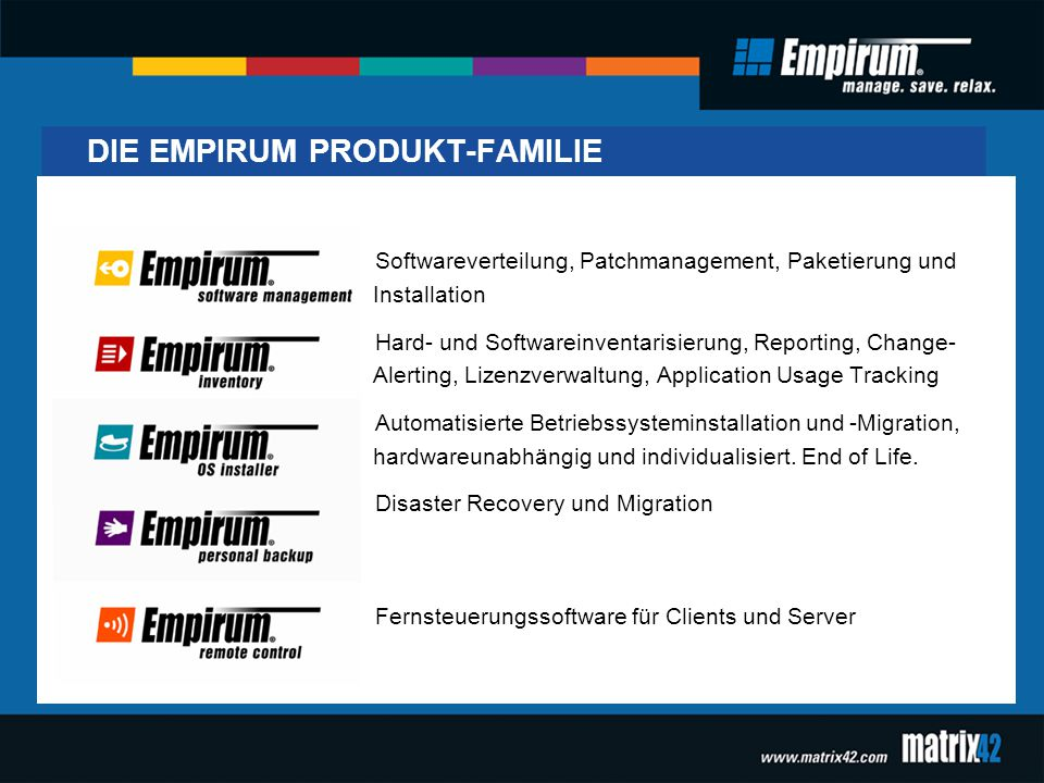 DIE EMPIRUM PRODUKT-FAMILIE Softwareverteilung, Patchmanagement, Paketierung und Installation Hard- und Softwareinventarisierung, Reporting, Change- Alerting, Lizenzverwaltung, Application Usage Tracking Automatisierte Betriebssysteminstallation und -Migration, hardwareunabhängig und individualisiert.