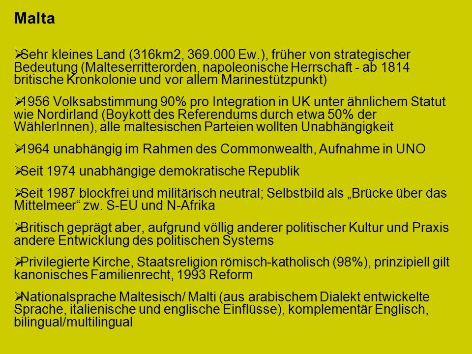 """Malta  Sehr kleines Land (316km2, 369.000 Ew.), früher von strategischer Bedeutung (Malteserritterorden, napoleonische Herrschaft - ab 1814 britische Kronkolonie und vor allem Marinestützpunkt)  1956 Volksabstimmung 90% pro Integration in UK unter ähnlichem Statut wie Nordirland (Boykott des Referendums durch etwa 50% der WählerInnen), alle maltesischen Parteien wollten Unabhängigkeit  1964 unabhängig im Rahmen des Commonwealth, Aufnahme in UNO  Seit 1974 unabhängige demokratische Republik  Seit 1987 blockfrei und militärisch neutral; Selbstbild als """"Brücke über das Mittelmeer zw."""