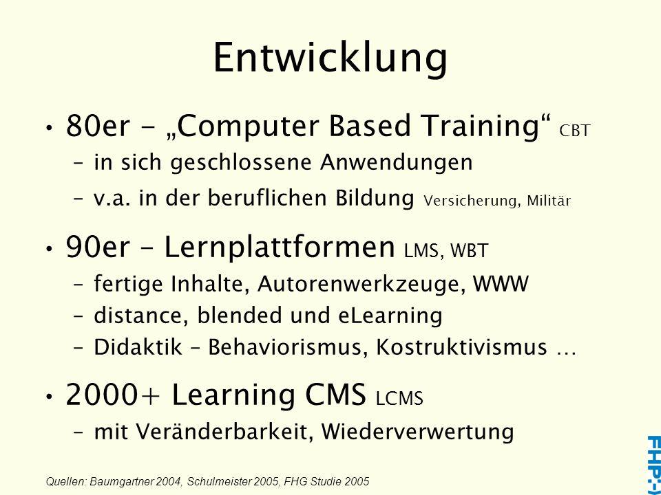 """Entwicklung 80er - """"Computer Based Training CBT –in sich geschlossene Anwendungen –v.a."""