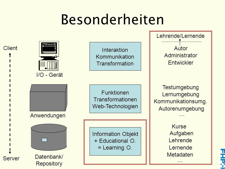 Besonderheiten Datenbank/ Repository Anwendungen I/O - Gerät Information Objekt + Educational O.