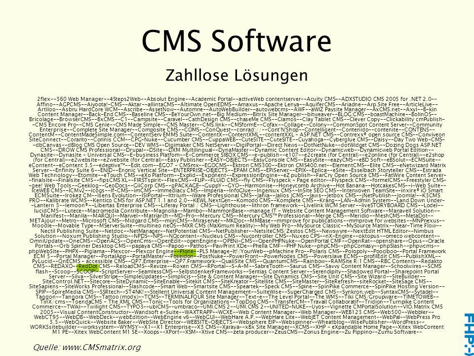 CMS Software Quelle: www.CMSmatrix.org Zahllose Lösungen 2flex--360 Web Manager--4Steps2Web--Absolut Engine--Academic Portal--activeWeb contentserver--Acuity CMS--ADXSTUDIO CMS 2005 for.NET 2.0-- Affino--AGPCMS--Aiyoota!-CMS--Aktar--allintaCMS--Altimate OpenEDMS--Amaxus--Apache Lenya--AquiferCMS--Ariadne--Arp.Site Free--ArticleLive-- Artiloo--Asbru HardCore WCM--Ascribe--AssetNow--Automne--AutoWebBuilder--autowebcms--AWF--aWIZ Paysite Manager--AxCMS.net--Axyl--B-kin Content Manager--Back-End CMS--Baseline CMS--BeYourOwn.net--Big Medium--Bitrix Site Manager--bitweaver--BLOG:CMS--boastMachine--BolinOS-- Bricolage--BrowserCMS--BxCMS--C1--Campsite--Caravel--CathDesign CMS--chaseMe CMS--Ciamos--Clay Tablet CMS--Clever Copy--Clickability cmPublish- -CMS Encore Pro--CMS Genie--CMS Made Simple--CMS Master--CMS.link--CMSformE--Cofax--Collage--Colony--CommonSpot Content Server--Community Enterprise--Complete Site Manager--Composite CMS--COMS--ConQuest--conrad://--Cont N Shop--Contelligent--Contenido--contenite--CONTENS-- ContentM--ContentMadeSimple.com--ContentServ EMMS Suite--ContentX--ContentXML--contentXXL - ASP.NET CMS--Contrexx® open source CMS--Conviveon SiteConnect--Coranto--Corinis CCM--CPG-Nuke--Cucumber CMS--CuppaWEB--CuteSITE--CuteSITE--Cuyahoga--Cyberglue CMS--Daisy--Day Two Web-CMS- -dbCanvas--dBlog CMS Open Source--DEV WMS--Digimaker CMS NetServer--DigiPortal--Direct News--DotNetNuke--dotWidget CMS--Dozing Dogs ASP.NET CMS--DROW CMS Professional--Drupal--DSite--DXM Multilingual--DynaMaster--Dynamic Content Editor--Dynamicweb--Dynamicweb Portal Edition-- Dynasite--Dynasite - Universal CMS--E-business Platfom--E-Commerce SIBOX CMS--e-publish--e107--e2create (for Central)--e2online (for Central)--e2shop (for Central)--e2website--e2website (for Central)--Easy Publisher--EASY-OBJECTS--EasyConsole CMS--EasySite--eazyCMS--eBD Soft--eBSolut--ECMSuite-- eContent--eContent 3.5--edeptive™--Edit.com--EGO7 - CMSmx--EGOCMS--Ektron CMS300--Ektron CMS400.net--ElementCMS--Elite 