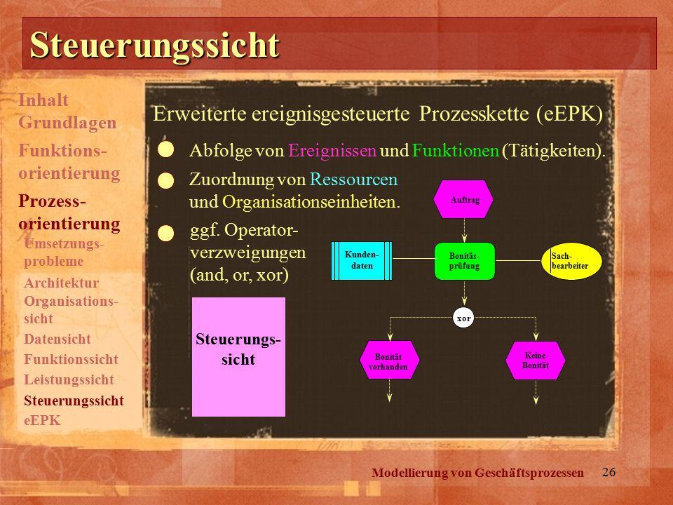 26 Steuerungssicht Modellierung von Geschäftsprozessen Steuerungs- sicht Auftrag Bonitäs- prüfung Sach- bearbeiter xor Bonität vorhanden Keine Bonität