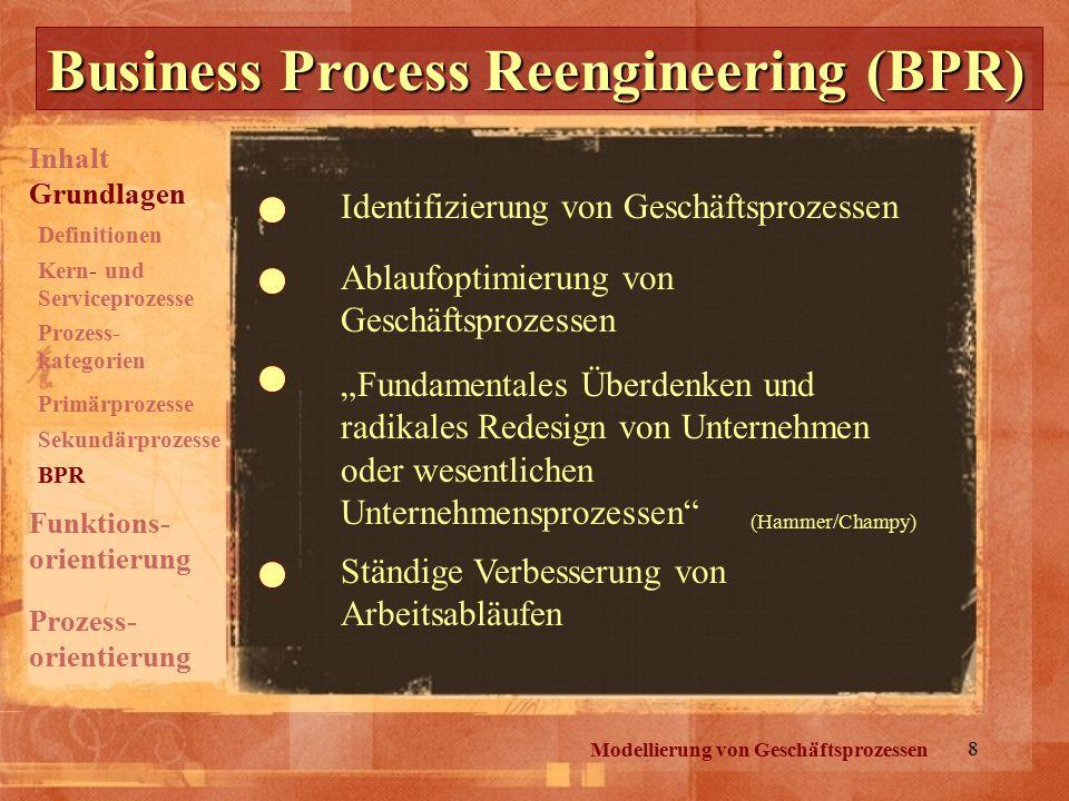 """8 Business Process Reengineering (BPR) Modellierung von Geschäftsprozessen Identifizierung von Geschäftsprozessen Ablaufoptimierung von Geschäftsprozessen """"Fundamentales Überdenken und radikales Redesign von Unternehmen oder wesentlichen Unternehmensprozessen Ständige Verbesserung von Arbeitsabläufen (Hammer/Champy) Inhalt Grundlagen Prozess- orientierung Funktions- orientierung Definitionen Kern- und Serviceprozesse Prozess- kategorien Primärprozesse Sekundärprozesse BPR"""