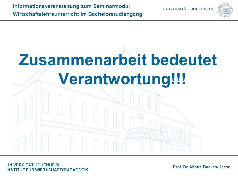 Informationsveranstaltung zum Seminarmodul Wirtschaftslehreunterricht im Bachelorstudiengang Prof.