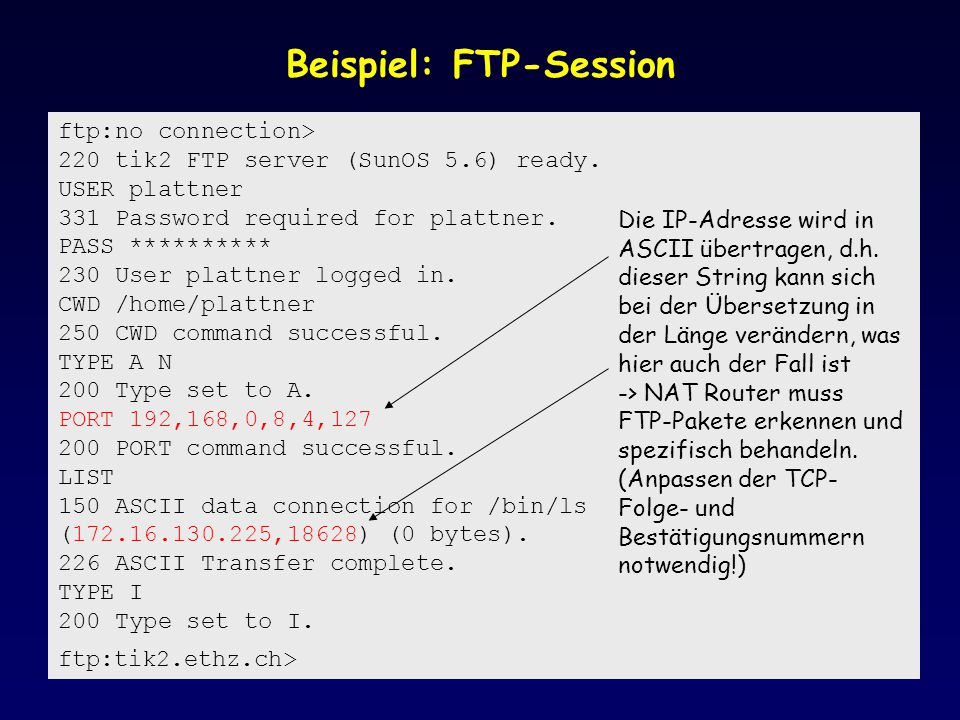 Beispiel: FTP-Session ftp:no connection> 220 tik2 FTP server (SunOS 5.6) ready. USER plattner 331 Password required for plattner. PASS ********** 230