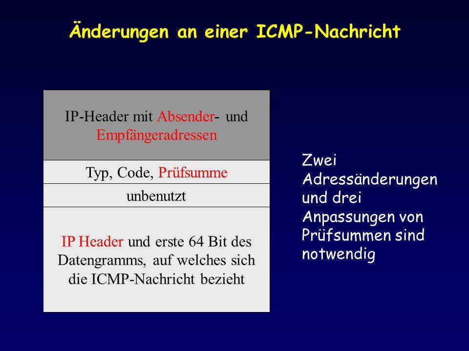Änderungen an einer ICMP-Nachricht IP-Header mit Absender- und Empfängeradressen Typ, Code, Prüfsumme unbenutzt IP Header und erste 64 Bit des Datengramms, auf welches sich die ICMP-Nachricht bezieht Zwei Adressänderungen und drei Anpassungen von Prüfsummen sind notwendig