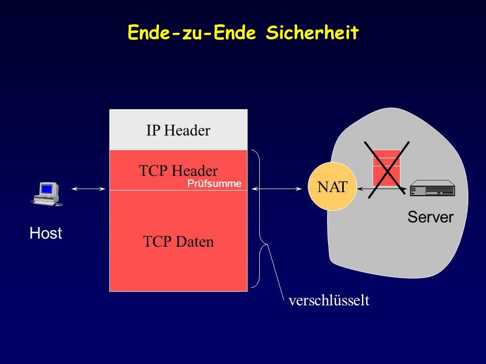 Ende-zu-Ende Sicherheit Host Server IP Header TCP Daten TCP Header NAT verschlüsselt Prüfsumme