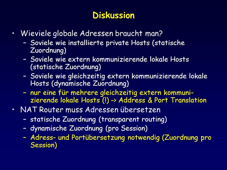 Diskussion Wieviele globale Adressen braucht man.