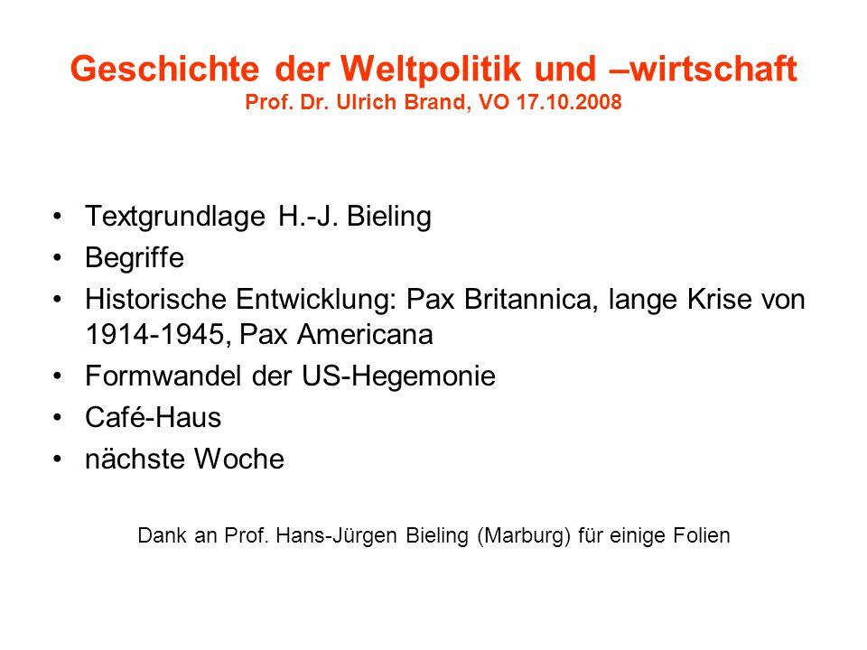Geschichte der Weltpolitik und –wirtschaft Prof. Dr. Ulrich Brand, VO 17.10.2008 Textgrundlage H.-J. Bieling Begriffe Historische Entwicklung: Pax Bri
