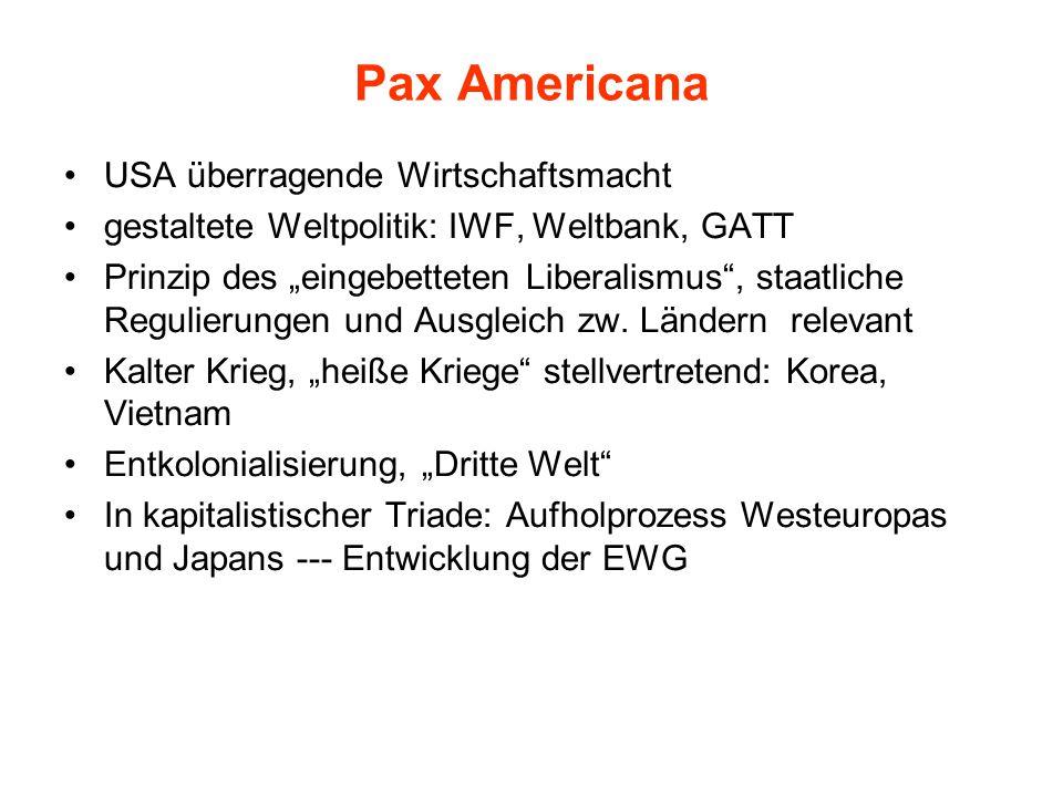 """Pax Americana USA überragende Wirtschaftsmacht gestaltete Weltpolitik: IWF, Weltbank, GATT Prinzip des """"eingebetteten Liberalismus , staatliche Regulierungen und Ausgleich zw."""