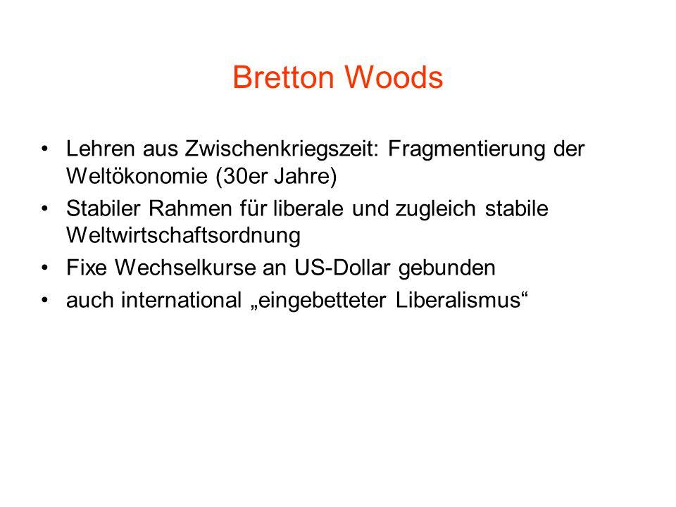 """Bretton Woods Lehren aus Zwischenkriegszeit: Fragmentierung der Weltökonomie (30er Jahre) Stabiler Rahmen für liberale und zugleich stabile Weltwirtschaftsordnung Fixe Wechselkurse an US-Dollar gebunden auch international """"eingebetteter Liberalismus"""