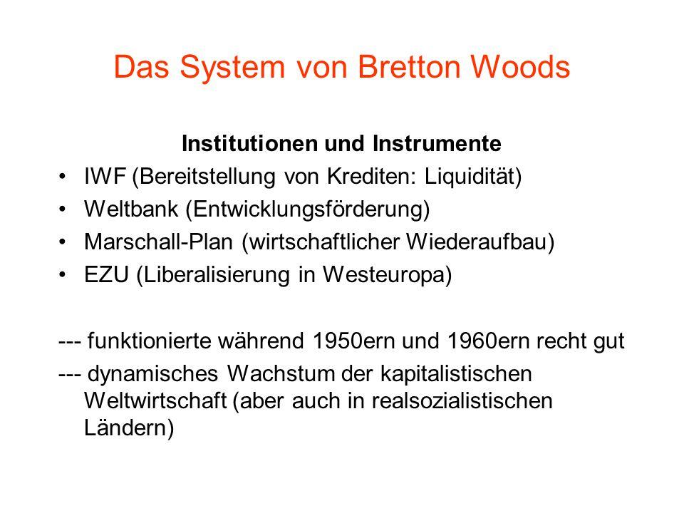 Das System von Bretton Woods Institutionen und Instrumente IWF (Bereitstellung von Krediten: Liquidität) Weltbank (Entwicklungsförderung) Marschall-Plan (wirtschaftlicher Wiederaufbau) EZU (Liberalisierung in Westeuropa) --- funktionierte während 1950ern und 1960ern recht gut --- dynamisches Wachstum der kapitalistischen Weltwirtschaft (aber auch in realsozialistischen Ländern)