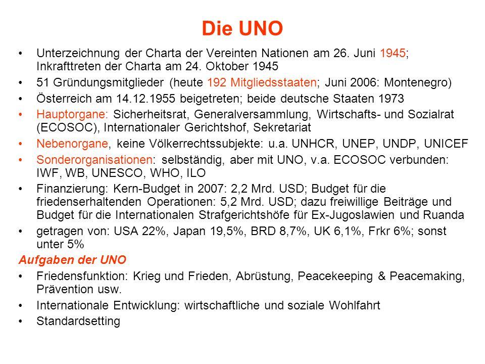 Die UNO Unterzeichnung der Charta der Vereinten Nationen am 26. Juni 1945; Inkrafttreten der Charta am 24. Oktober 1945 51 Gründungsmitglieder (heute