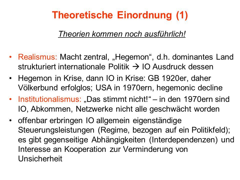 """Theoretische Einordnung (1) Theorien kommen noch ausführlich! Realismus: Macht zentral, """"Hegemon"""", d.h. dominantes Land strukturiert internationale Po"""