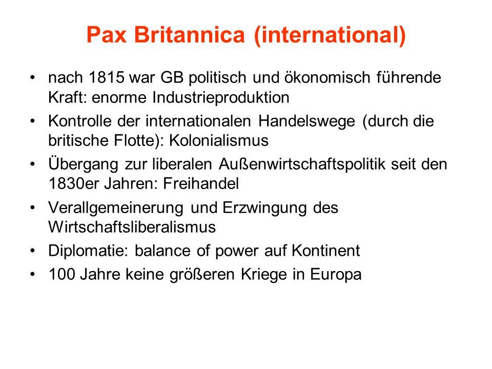 Pax Britannica (international) nach 1815 war GB politisch und ökonomisch führende Kraft: enorme Industrieproduktion Kontrolle der internationalen Hand