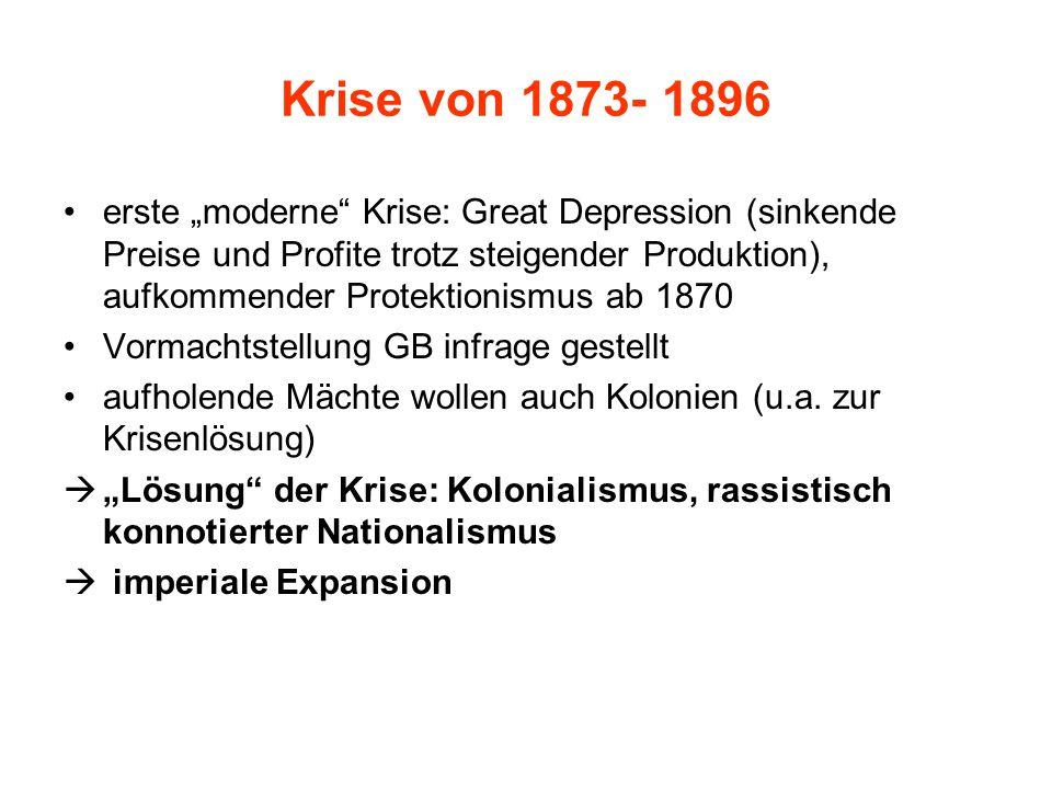 """Krise von 1873- 1896 erste """"moderne Krise: Great Depression (sinkende Preise und Profite trotz steigender Produktion), aufkommender Protektionismus ab 1870 Vormachtstellung GB infrage gestellt aufholende Mächte wollen auch Kolonien (u.a."""