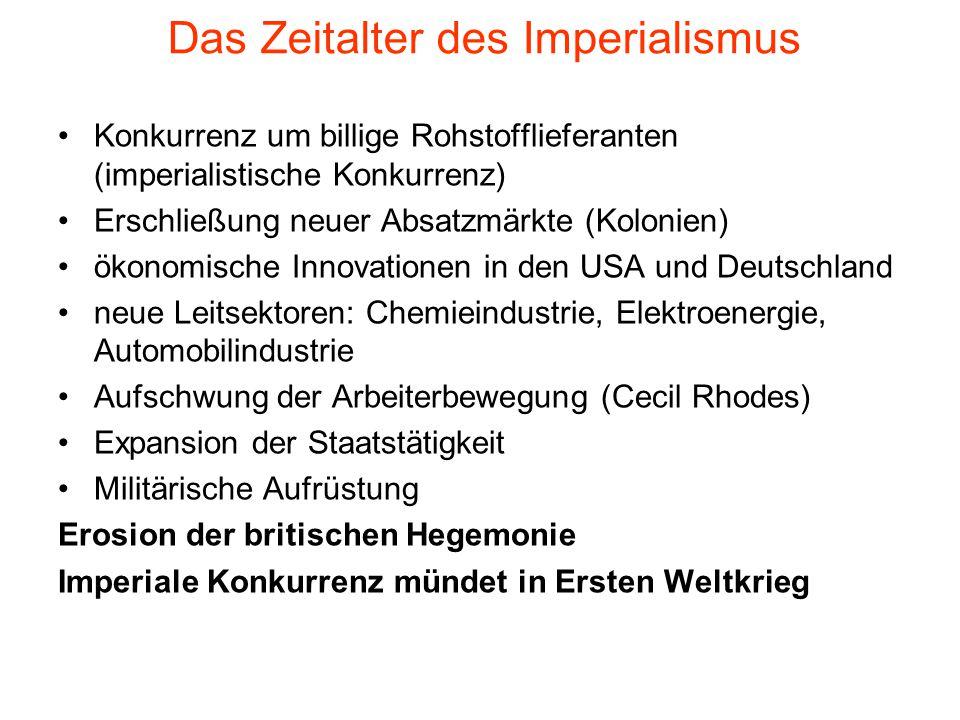 Das Zeitalter des Imperialismus Konkurrenz um billige Rohstofflieferanten (imperialistische Konkurrenz) Erschließung neuer Absatzmärkte (Kolonien) öko
