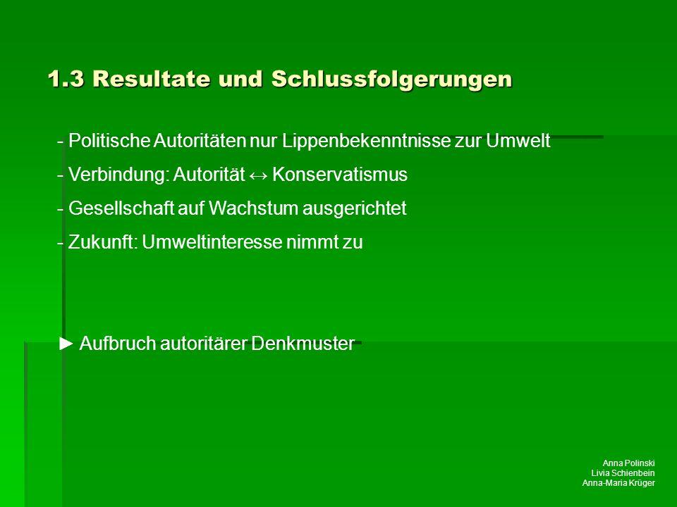 Anna Polinski Livia Schienbein Anna-Maria Krüger 1.3 Resultate und Schlussfolgerungen - Politische Autoritäten nur Lippenbekenntnisse zur Umwelt - Ver