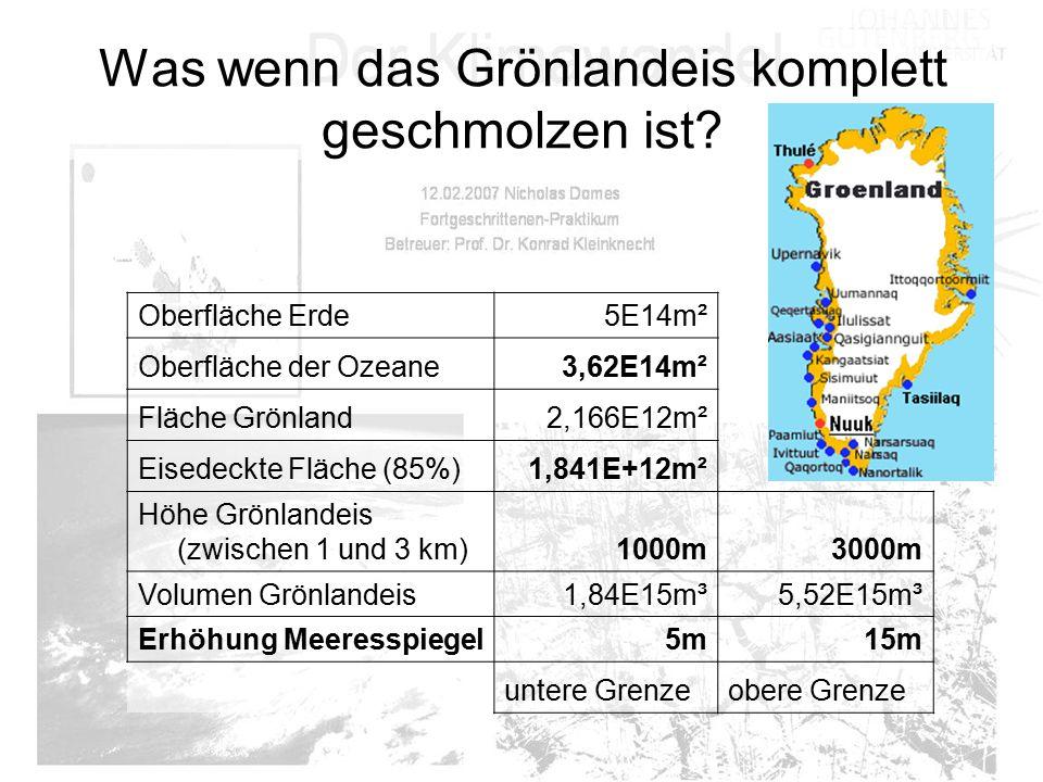Was wenn das Grönlandeis komplett geschmolzen ist? Oberfläche Erde5E14m² Oberfläche der Ozeane3,62E14m² Fläche Grönland2,166E12m² Eisedeckte Fläche (8