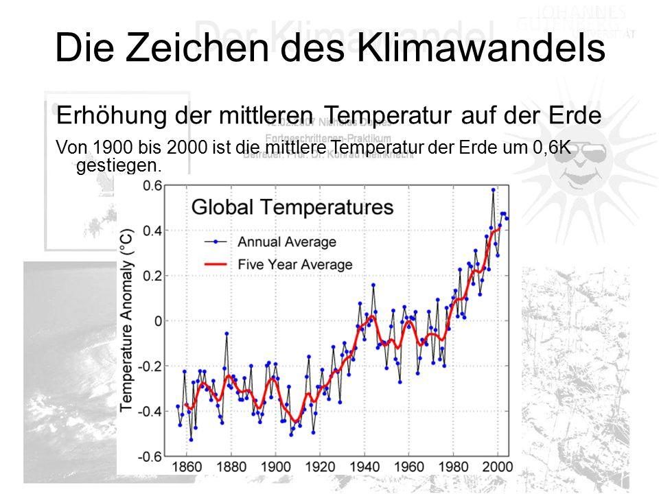 Die Zeichen des Klimawandels Erhöhung der mittleren Temperatur auf der Erde Von 1900 bis 2000 ist die mittlere Temperatur der Erde um 0,6K gestiegen.