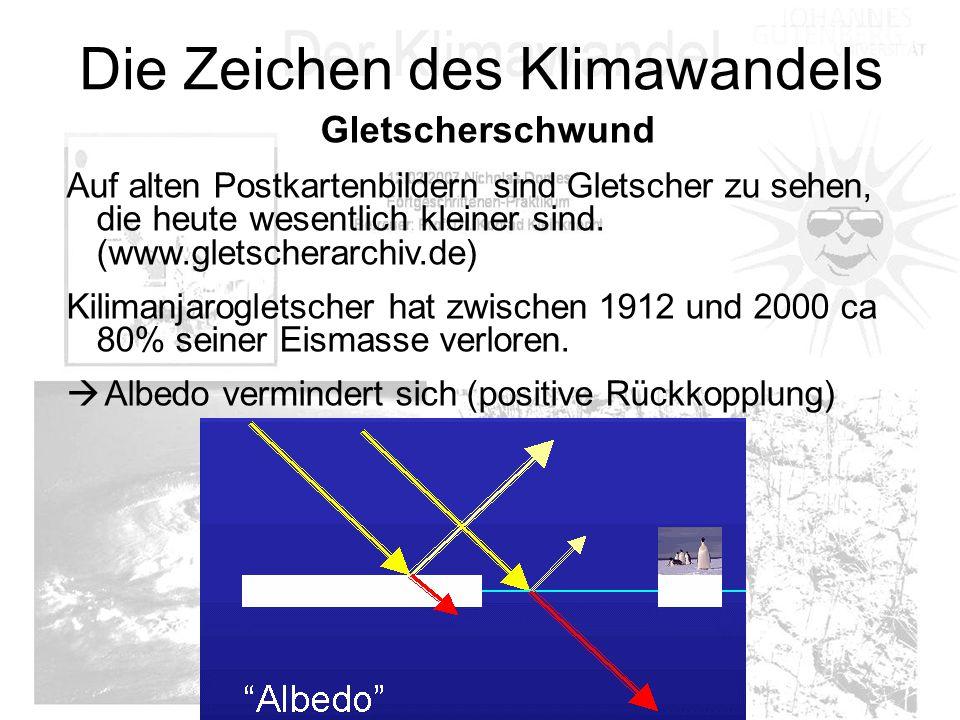 Die Zeichen des Klimawandels Gletscherschwund Auf alten Postkartenbildern sind Gletscher zu sehen, die heute wesentlich kleiner sind. (www.gletscherar