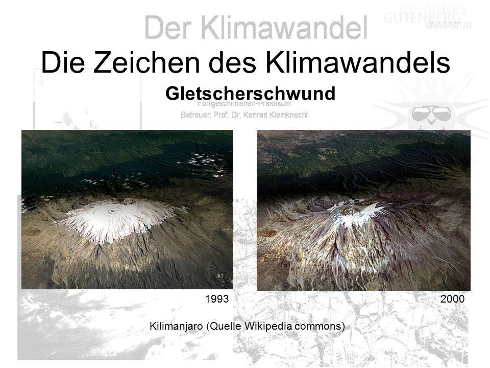 1993 2000 Die Zeichen des Klimawandels Gletscherschwund Kilimanjaro (Quelle Wikipedia commons)