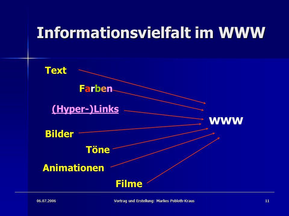 06.07.2006Vortrag und Erstellung: Marlies Pobloth-Kraus11 Informationsvielfalt im WWW Text FarbenFarben (Hyper-)Links Bilder Töne Animationen Filme www
