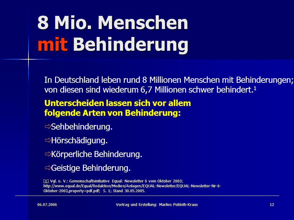 06.07.2006Vortrag und Erstellung: Marlies Pobloth-Kraus12 8 Mio.