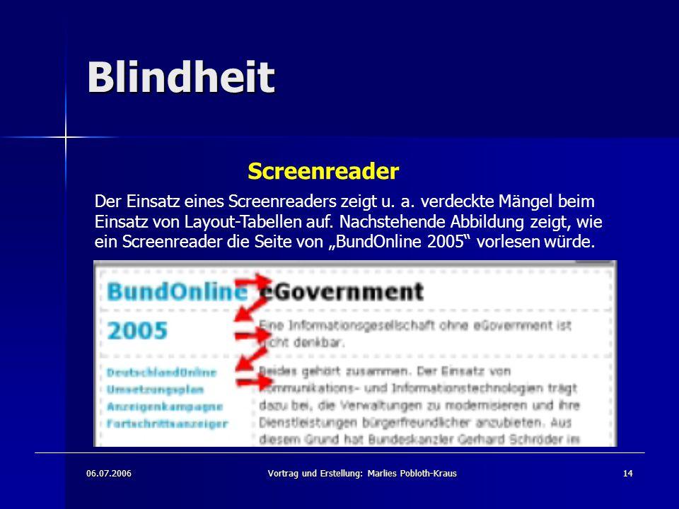 06.07.2006Vortrag und Erstellung: Marlies Pobloth-Kraus14 Blindheit Screenreader Der Einsatz eines Screenreaders zeigt u.