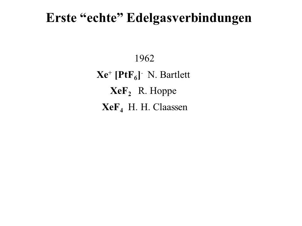"""1962 Xe + [PtF 6 ] - N. Bartlett XeF 2 R. Hoppe XeF 4 H. H. Claassen Erste """"echte"""" Edelgasverbindungen"""