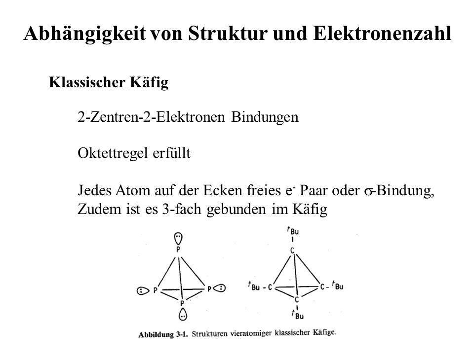Abhängigkeit von Struktur und Elektronenzahl Klassischer Käfig 2-Zentren-2-Elektronen Bindungen Oktettregel erfüllt Jedes Atom auf der Ecken freies e - Paar oder  -Bindung, Zudem ist es 3-fach gebunden im Käfig