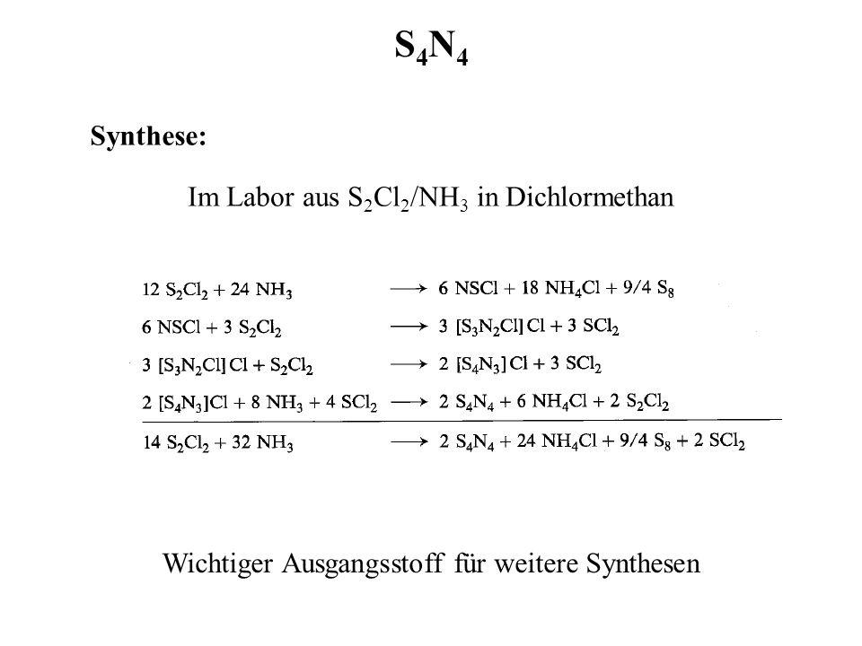 S4N4S4N4 Synthese: Im Labor aus S 2 Cl 2 /NH 3 in Dichlormethan Wichtiger Ausgangsstoff für weitere Synthesen