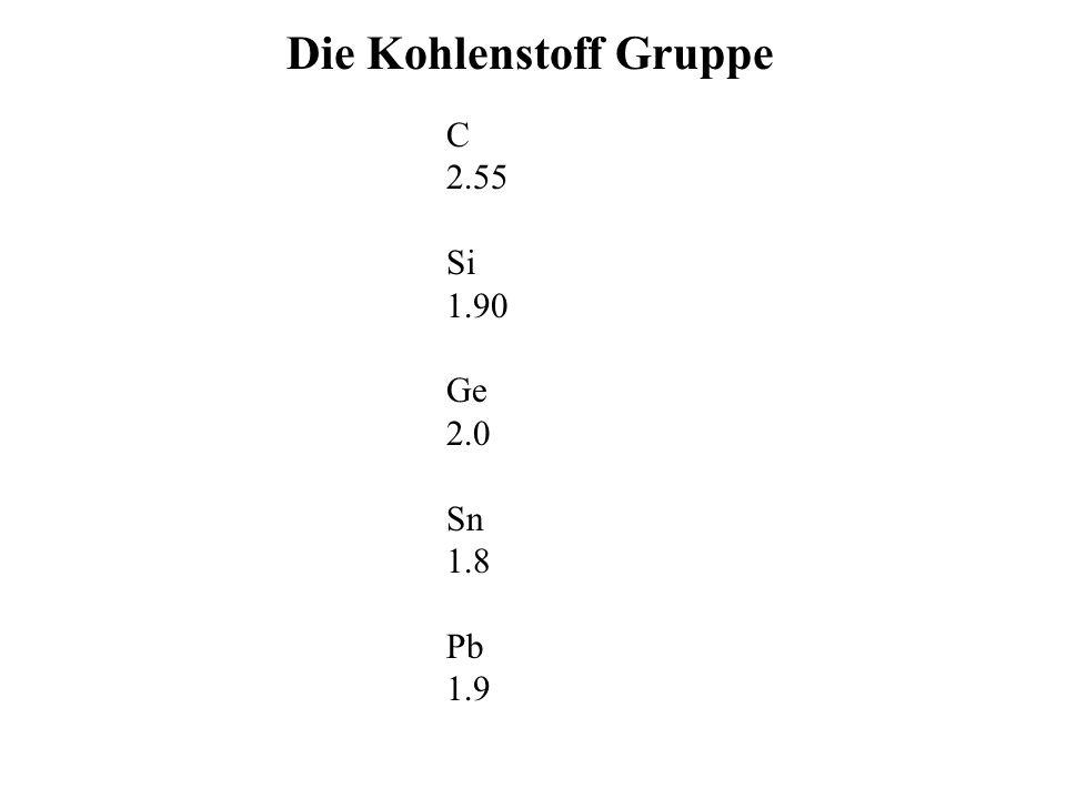 Die Kohlenstoff Gruppe C 2.55 Si 1.90 Ge 2.0 Sn 1.8 Pb 1.9