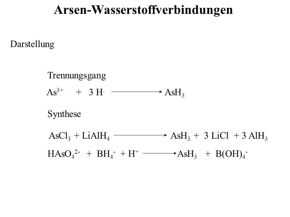 Arsen-Wasserstoffverbindungen Darstellung As 3+ + 3 H. AsH 3 Trennungsgang Synthese AsCl 3 + LiAlH 4 AsH 3 + 3 LiCl + 3 AlH 3 HAsO 4 2- + BH 4 - + H +