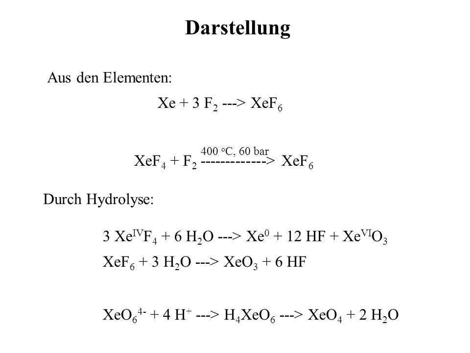 Darstellung Xe + 3 F 2 ---> XeF 6 XeF 4 + F 2 -------------> XeF 6 400 o C, 60 bar Aus den Elementen: 3 Xe IV F 4 + 6 H 2 O ---> Xe 0 + 12 HF + Xe VI O 3 XeF 6 + 3 H 2 O ---> XeO 3 + 6 HF Durch Hydrolyse: XeO 6 4- + 4 H + ---> H 4 XeO 6 ---> XeO 4 + 2 H 2 O
