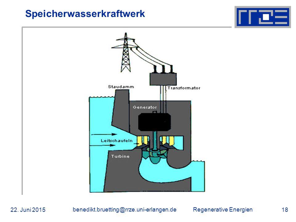 Regenerative Energien 22. Juni 2015 benedikt.bruetting@rrze.uni-erlangen.de 18 Speicherwasserkraftwerk
