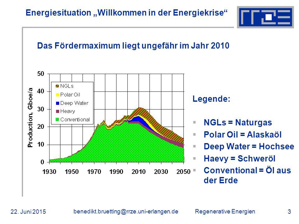 """Regenerative Energien 22. Juni 2015 benedikt.bruetting@rrze.uni-erlangen.de 3 Energiesituation """"Willkommen in der Energiekrise"""" Legende:  NGLs = Natu"""
