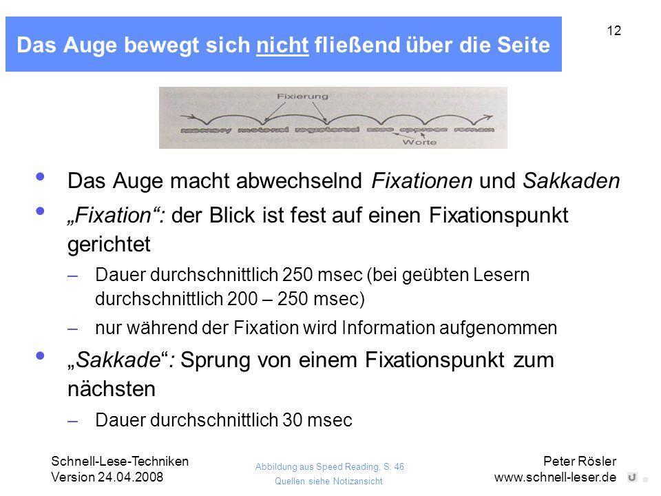 Schnell-Lese-Techniken Version 24.04.2008 Peter Rösler www.schnell-leser.de 12 Das Auge bewegt sich nicht fließend über die Seite Das Auge macht abwec