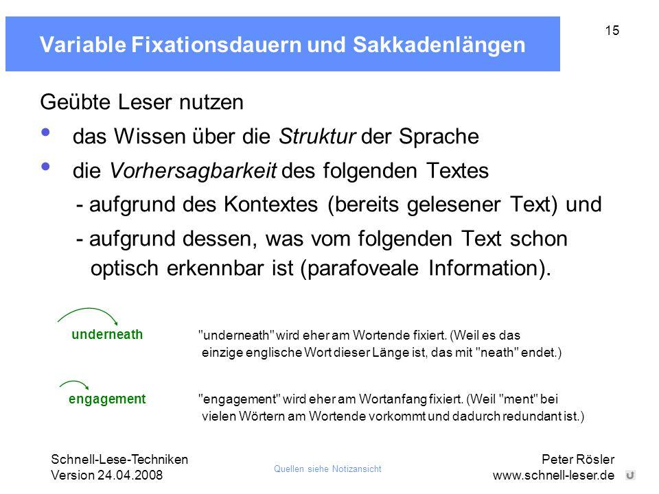 Schnell-Lese-Techniken Version 24.04.2008 Peter Rösler www.schnell-leser.de 15 Variable Fixationsdauern und Sakkadenlängen Geübte Leser nutzen das Wis
