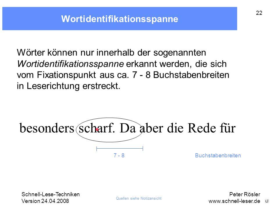 Schnell-Lese-Techniken Version 24.04.2008 Peter Rösler www.schnell-leser.de 22 Wortidentifikationsspanne besonders scharf. Da aber die Rede für 7 - 8B